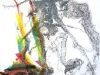 Der Flamencoengel II, Mischtechnik auf Papier, 50x70cm, Privatbesitz